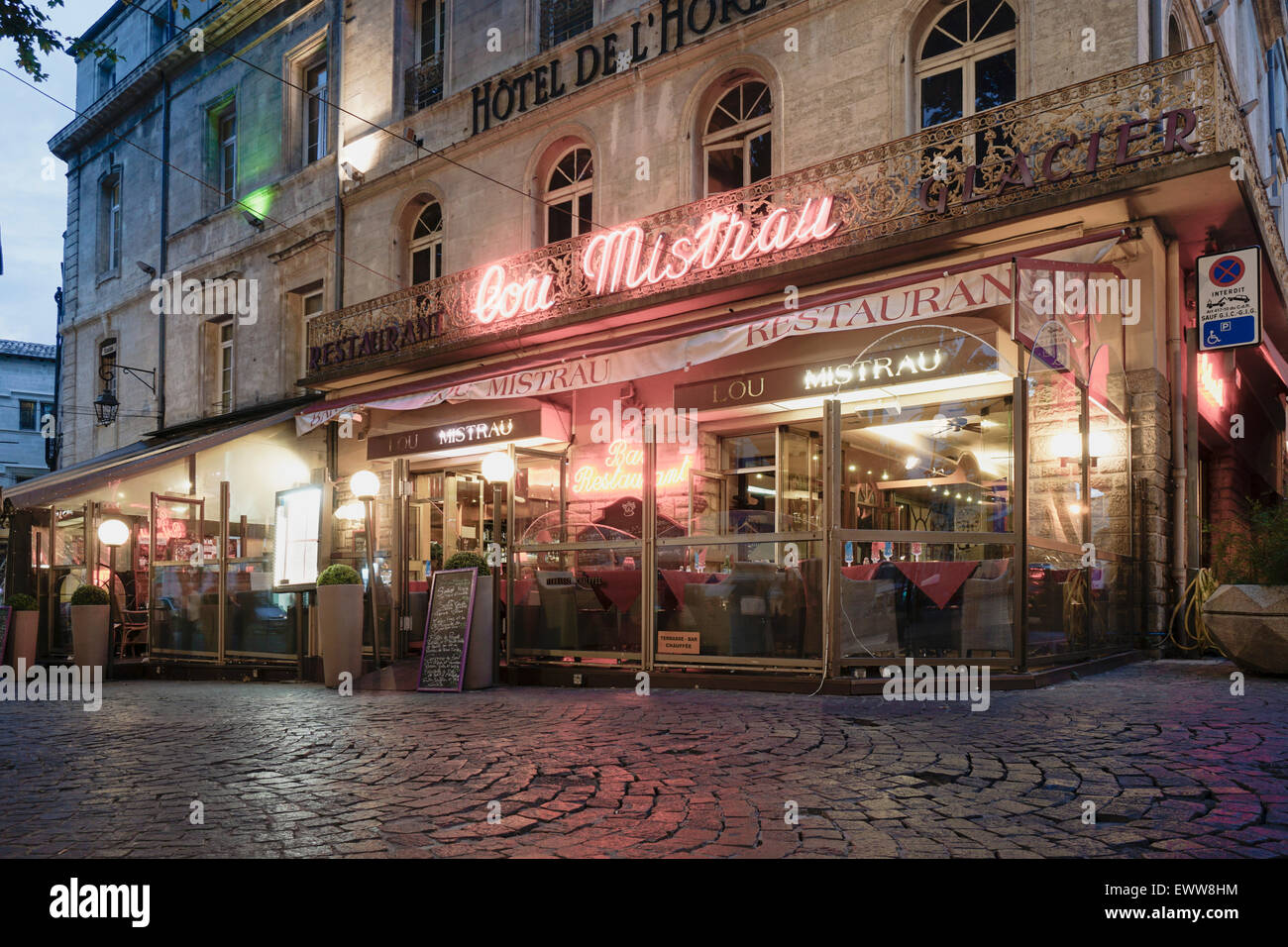 Straße Cafe, Restaurant, Place De La Horloge, Avignon, Bouche du Rhone, Frankreich Stockbild