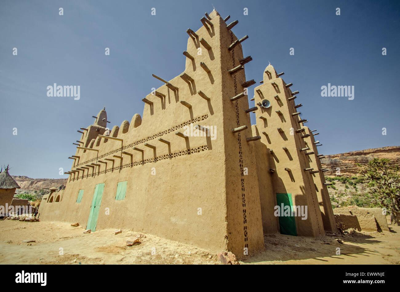 Moschee im Dogonland, Mali Stockbild