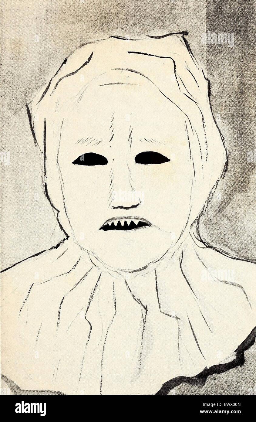 Dies Ist Eine Zeichnung Der Maske Getragen Von Den Organisatoren Des