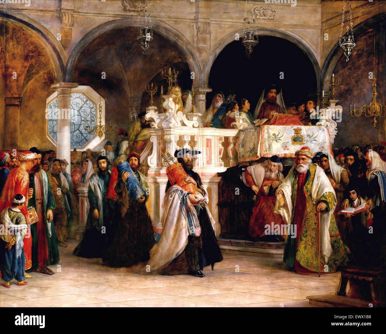 Solomon Hart, das Fest der Freude des Gesetzes in der Synagoge in Livorno, Italien 1850 Öl auf Leinwand. Stockbild