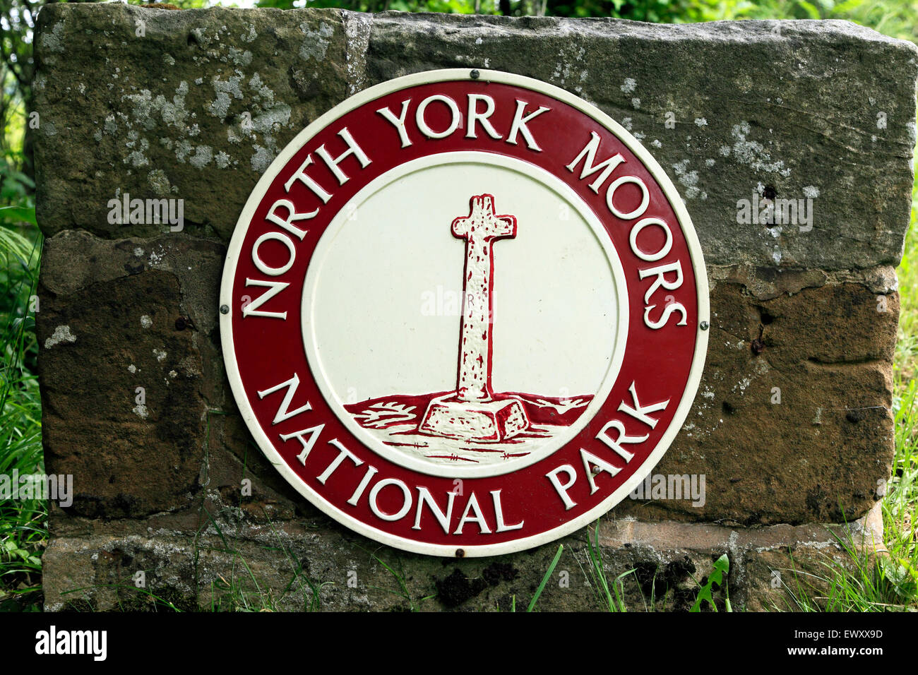 North York Moors National Park Grenze Zeichen, Logo, in der Nähe von Hutton-le-Hole, Hutton-le-Hole, Yorkshire Stockbild