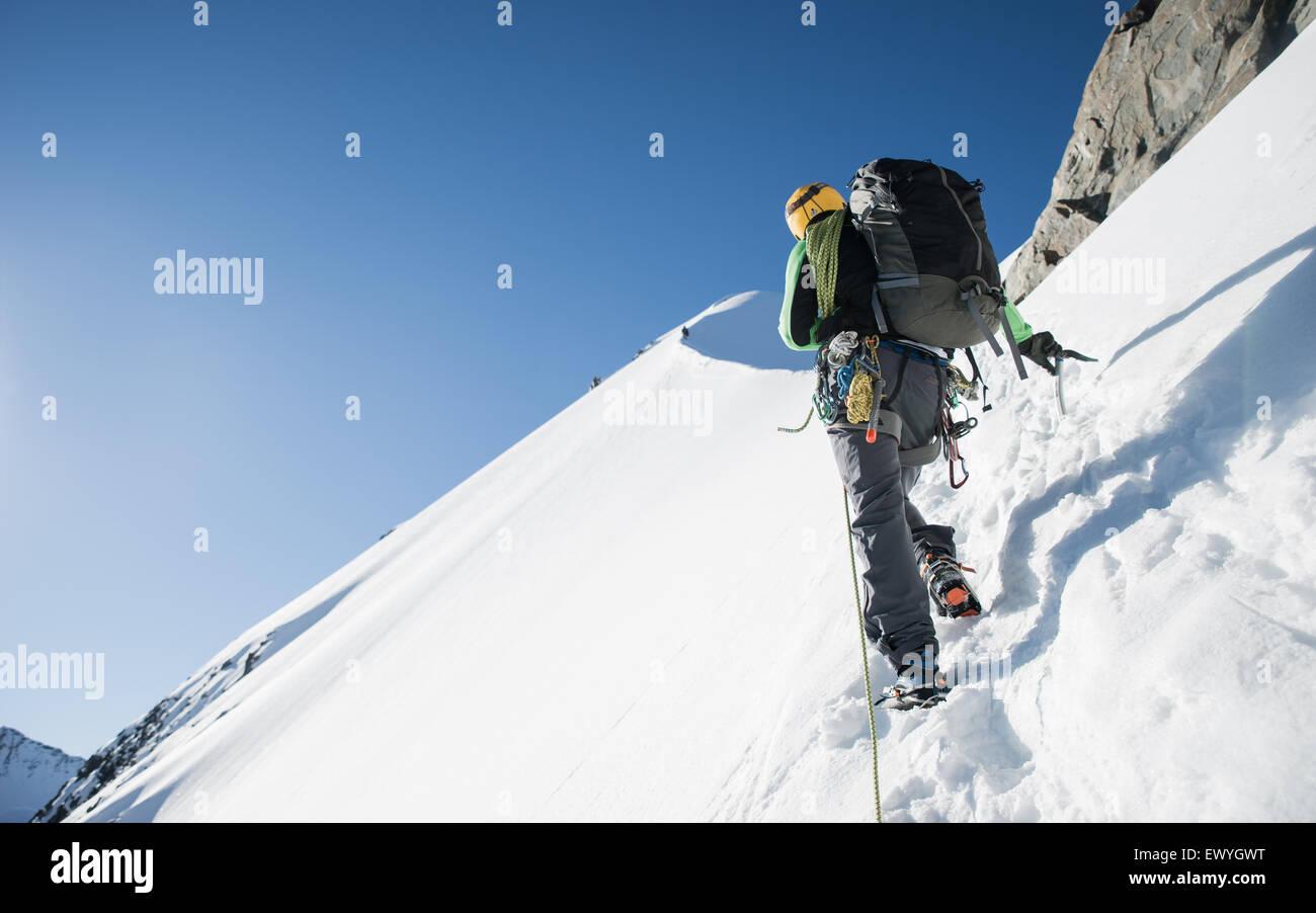 Mann-Bergsteigen am Bianco Grat, Schweizer Alpen, Bernina-Region, Schweiz Stockbild
