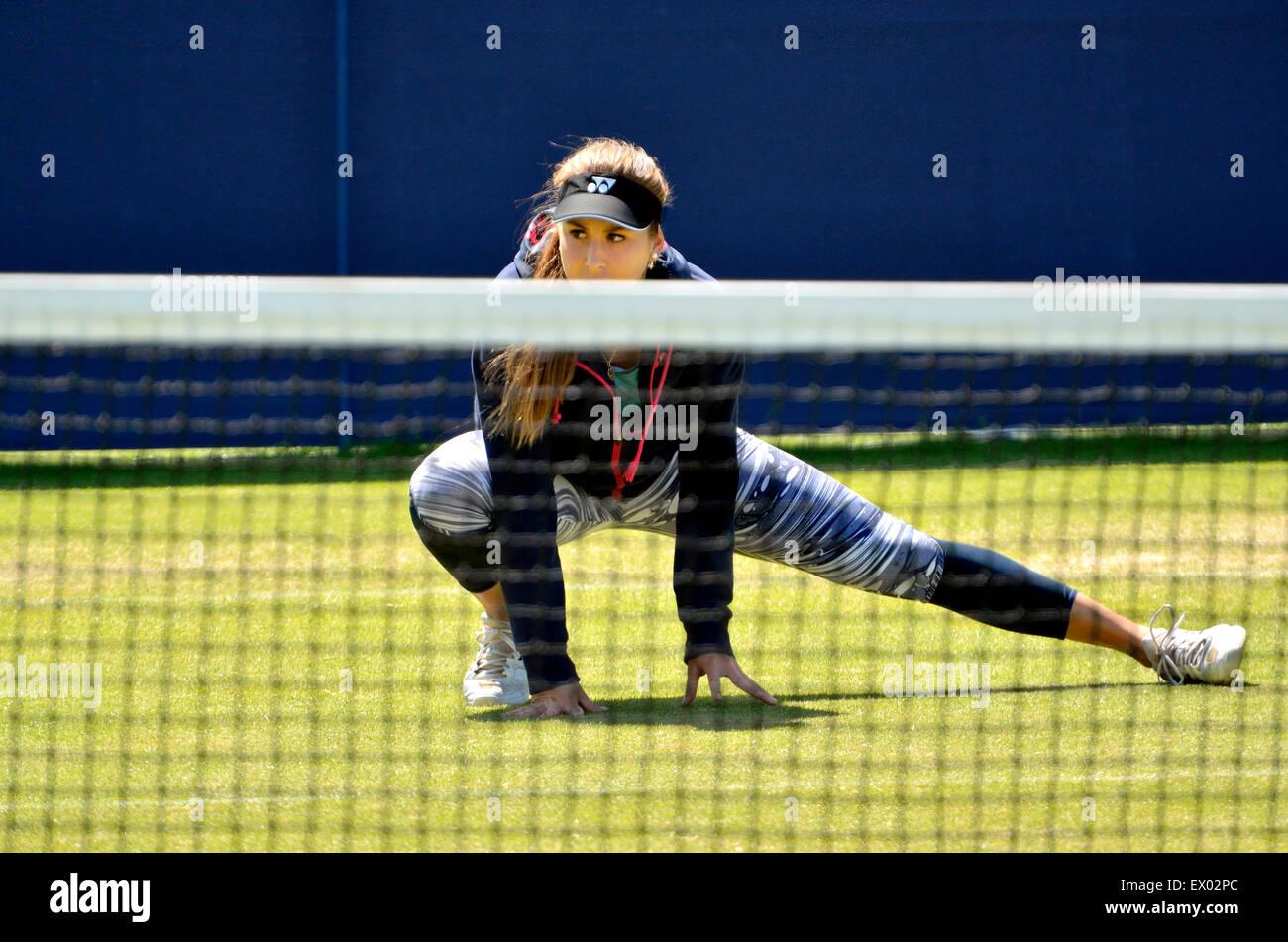 Belinda Bencic (Schweiz) Training vor dem Finale bei den Aegon International, Eastbourne, 24. Juni 2015 Stockbild