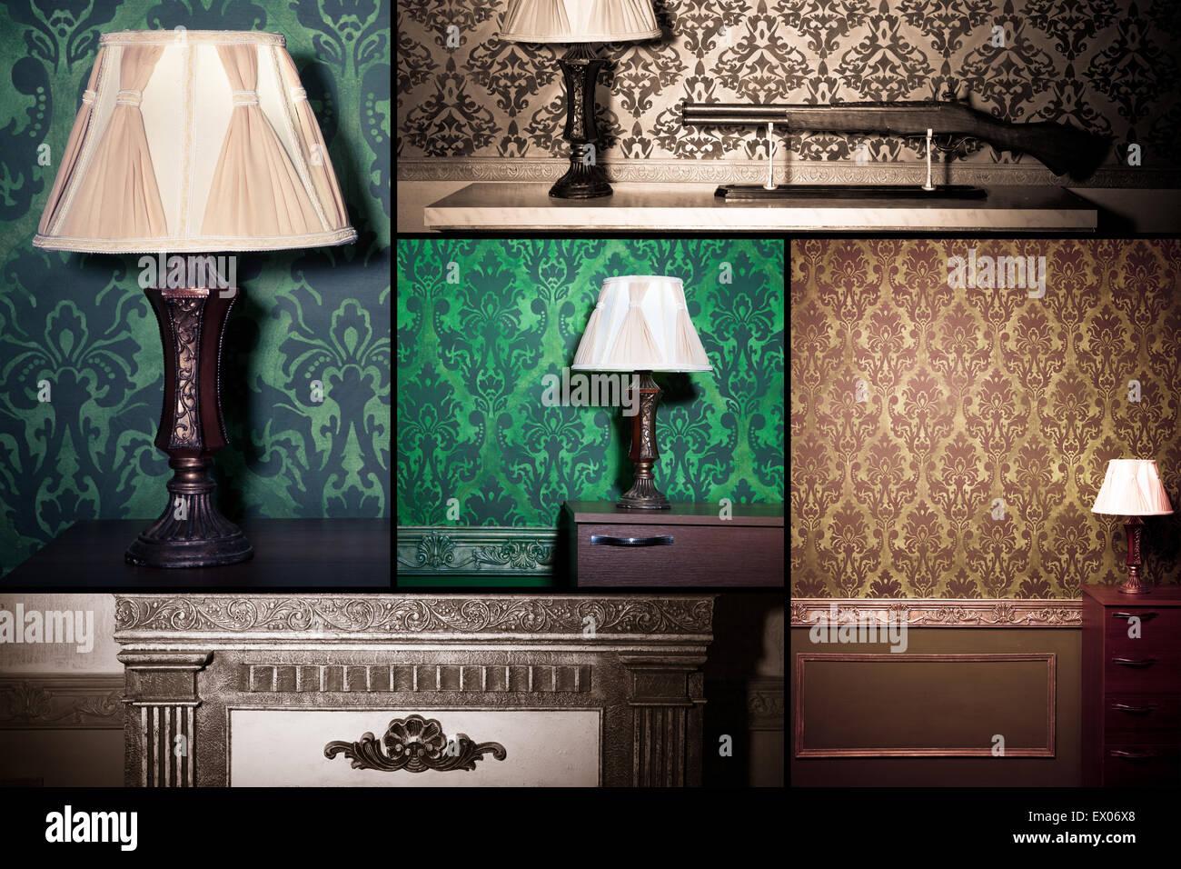 Collage von Vintage Interieur mit Retro-Elementen mit Vintage-Retro ...