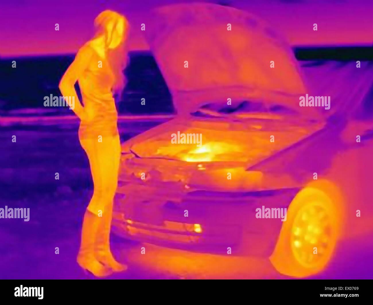 Wärmebild der Frau betrachten Automotor am Straßenrand Stockfoto ...