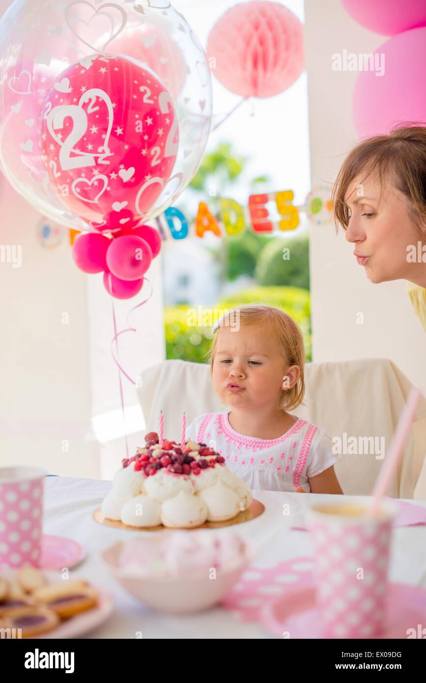Gartenparty zum Geburtstag der Tochter Stockbild