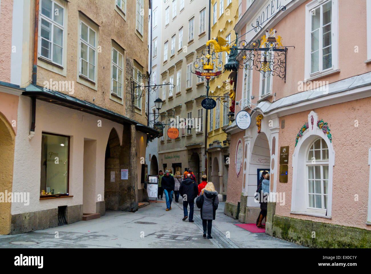 Judengasse, Fußgängerzone, Altstadt, Altstadt, Salzburg, Österreich Stockbild
