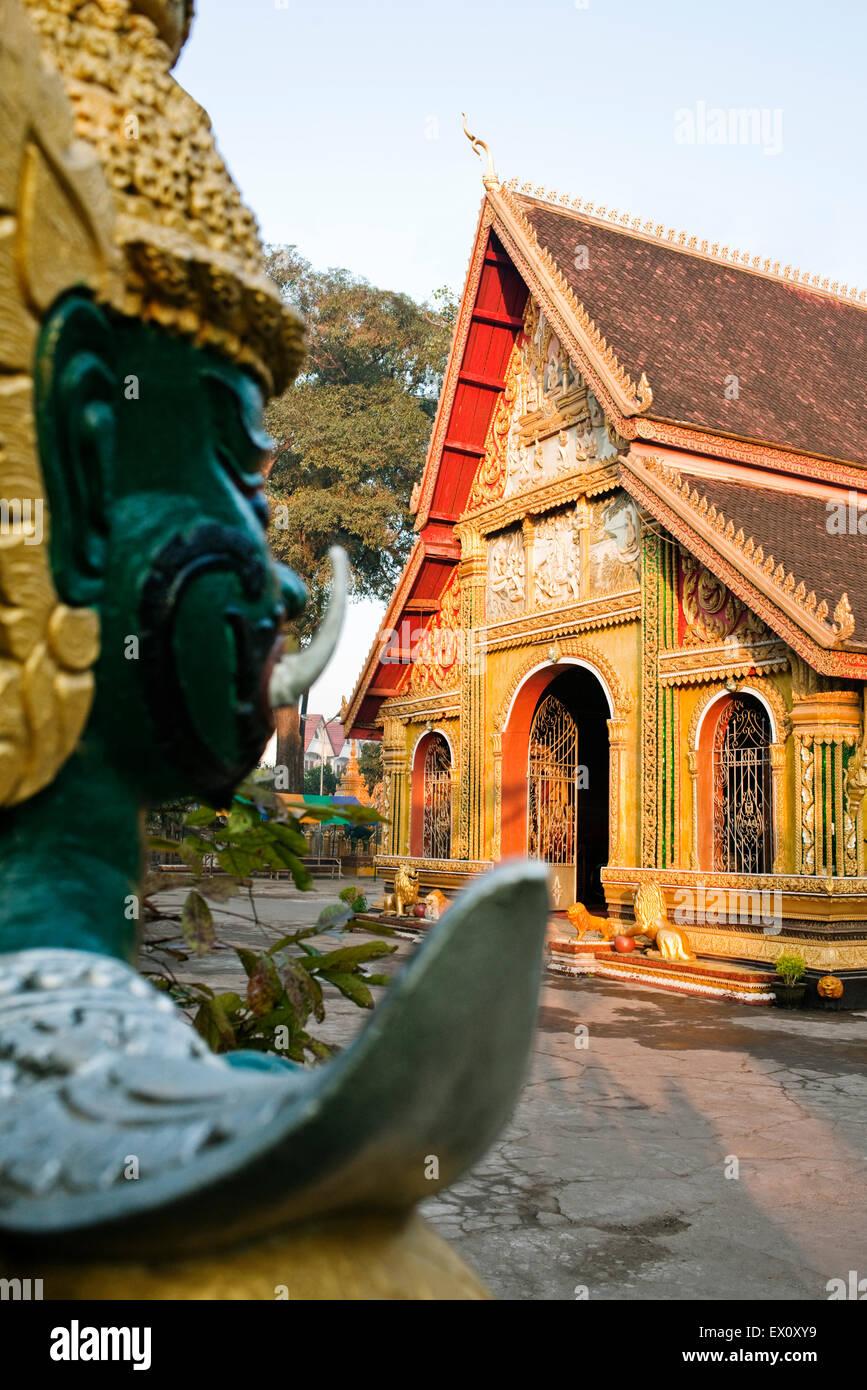 Außenseite des Wat Si Muang, Vientiane, Laos P.D.R Wat Si Muang ist ein buddhistischer Tempel berühmt Stockbild