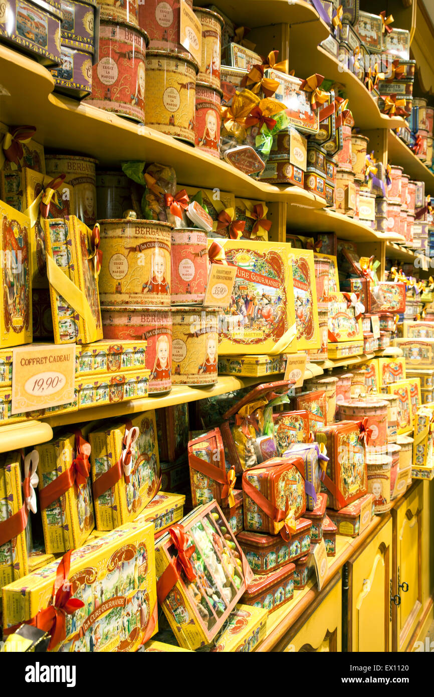Candy-Display, La Cure Gourmande Candy Store, Brügge, Belgien Stockbild