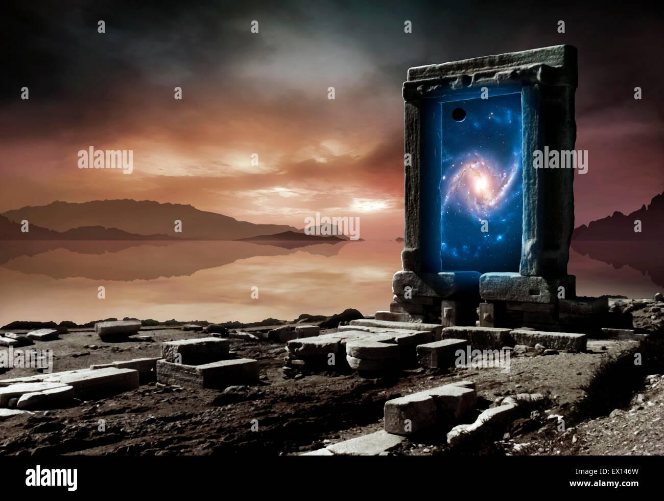 Konzeptuellen Kunstwerk Repräsentieren Eine Interdimensionale Tor