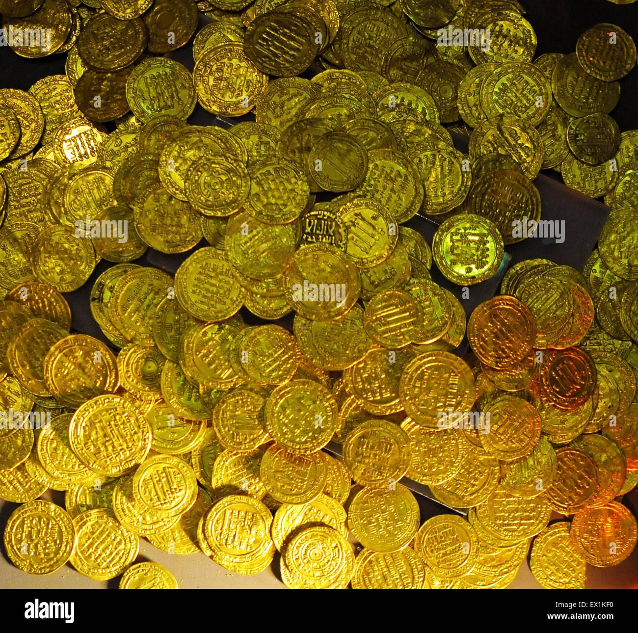 Schatz der alten Münzen Stockbild