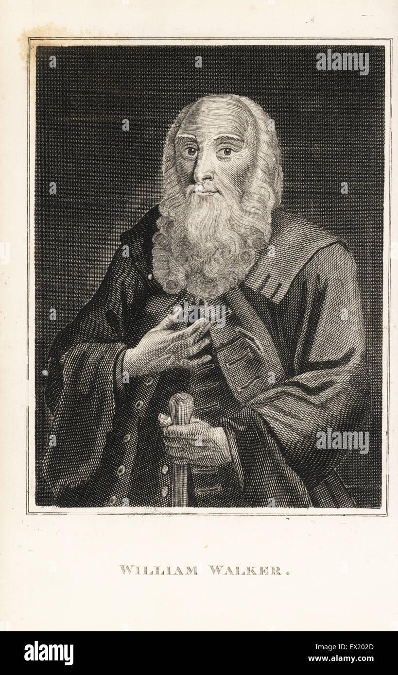 William Walker, starb im Jahr 1736 im Alter von 123. Kupferstich von John Caulfields Porträts, Memoiren und Stockbild