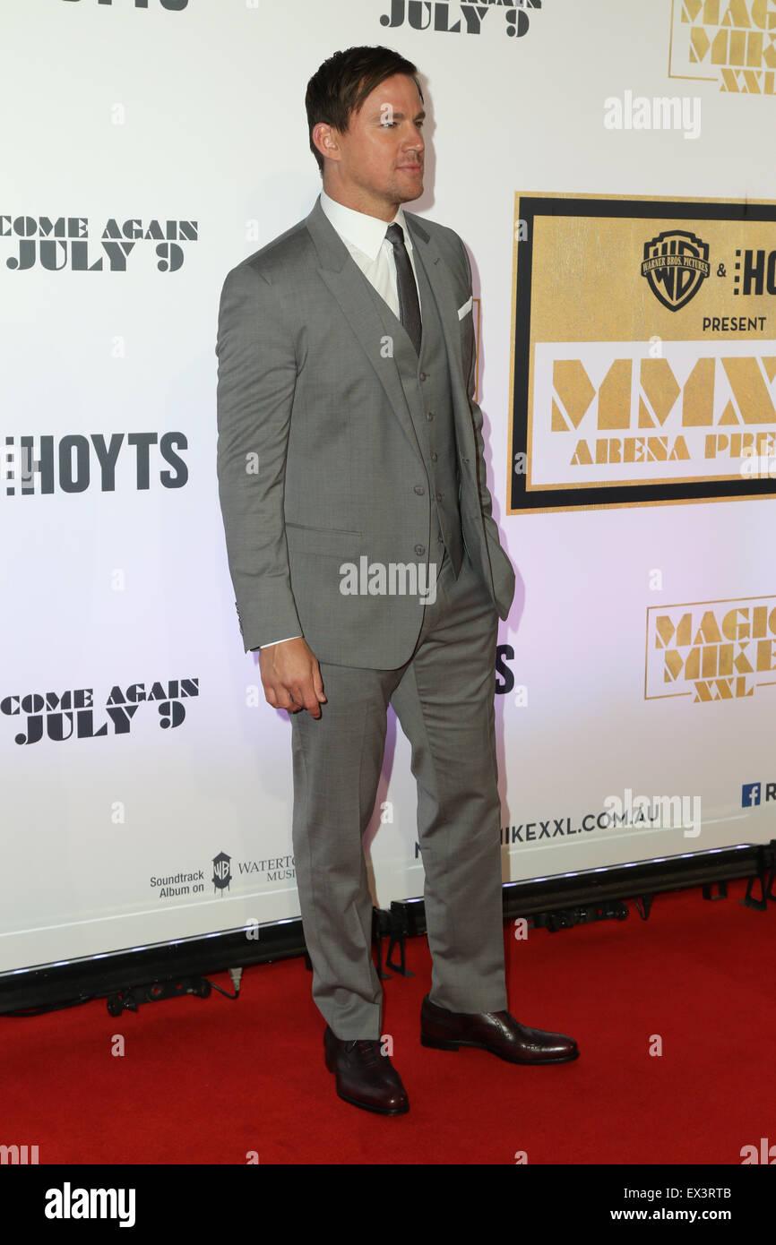 Sydney, Australien. 6. Juli 2015. Channing Tatum (Magic Mike) kommt auf dem roten Teppich bei der Qantas Credit Stockfoto