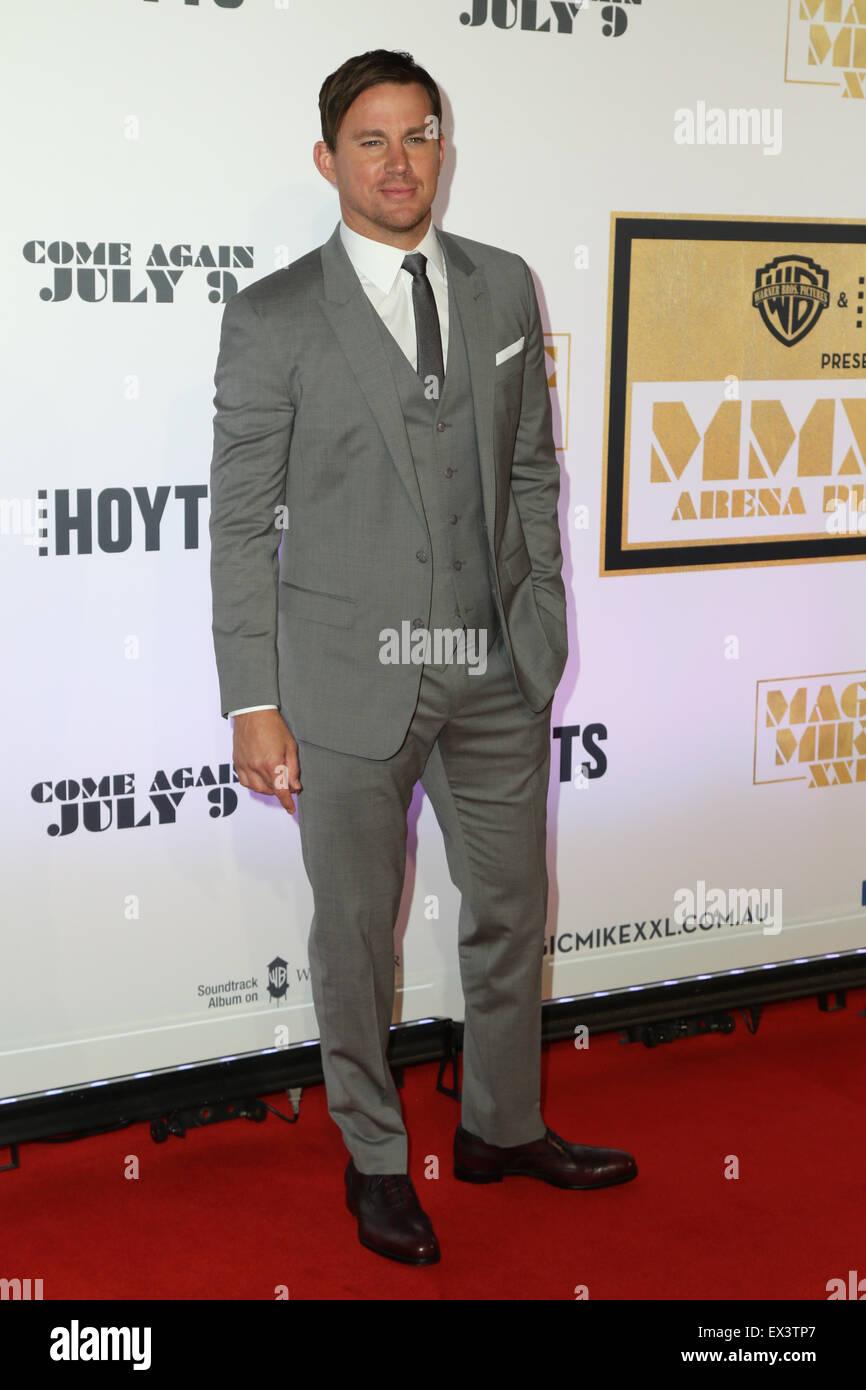 Sydney, Australien. 6. Juli 2015. Channing Tatum (Magic Mike) kommt auf dem roten Teppich bei der Qantas Credit Stockbild