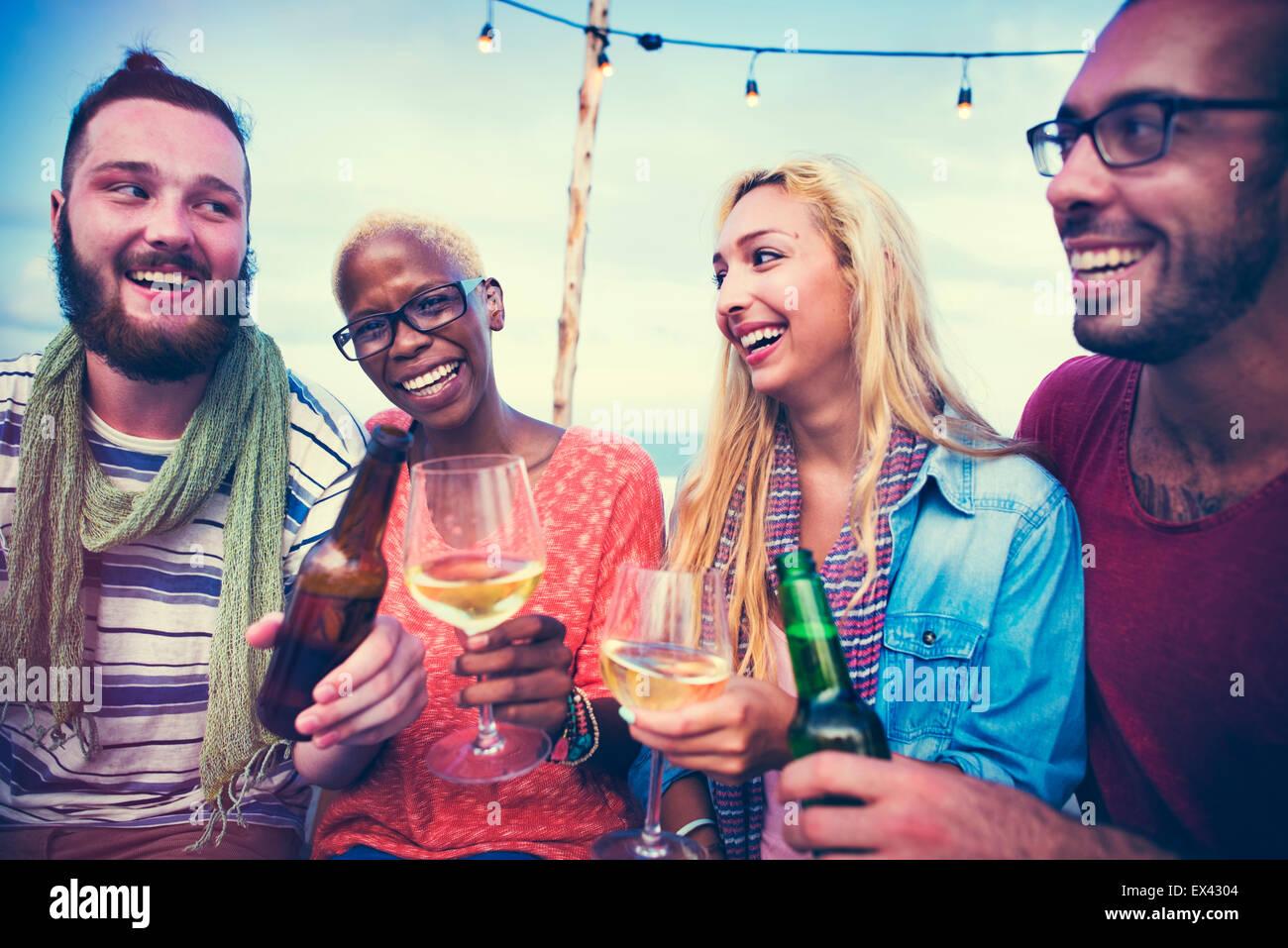 Strand Sommer Dinner Party Feier Konzept Stockbild