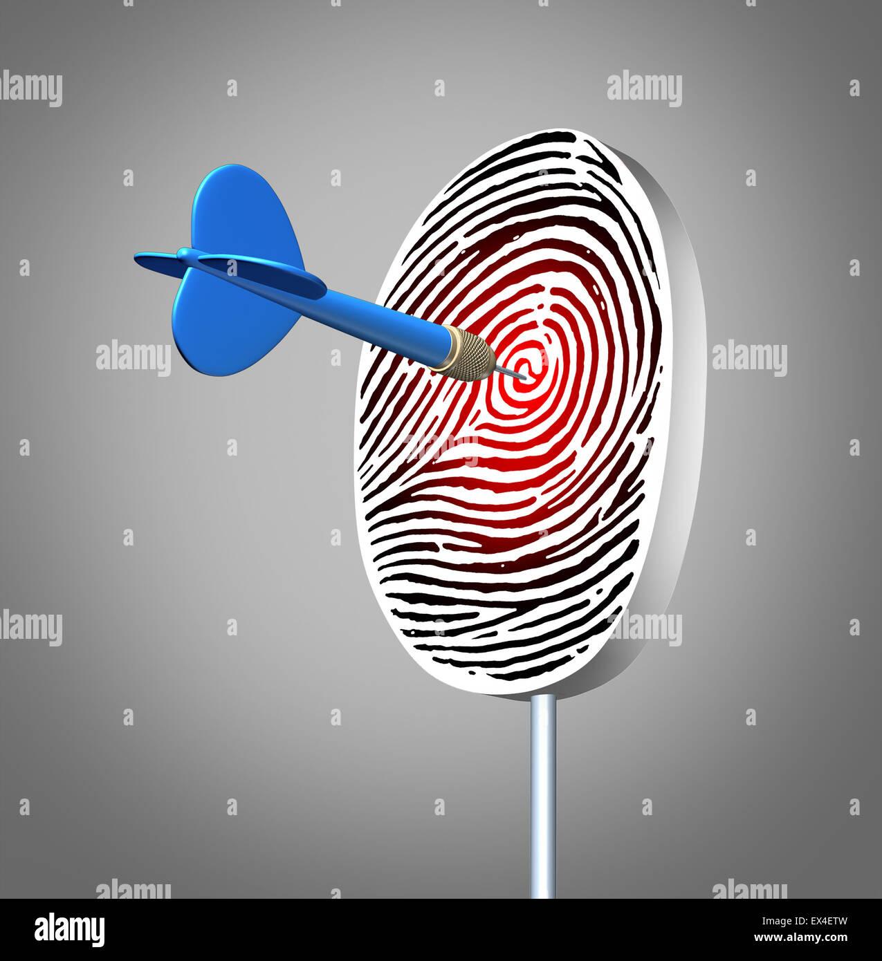 Persönliche Identifikation Konzept als eine ID Fingerabdruck oder Finger print Dartscheibe mit einem Pfeil Stockbild