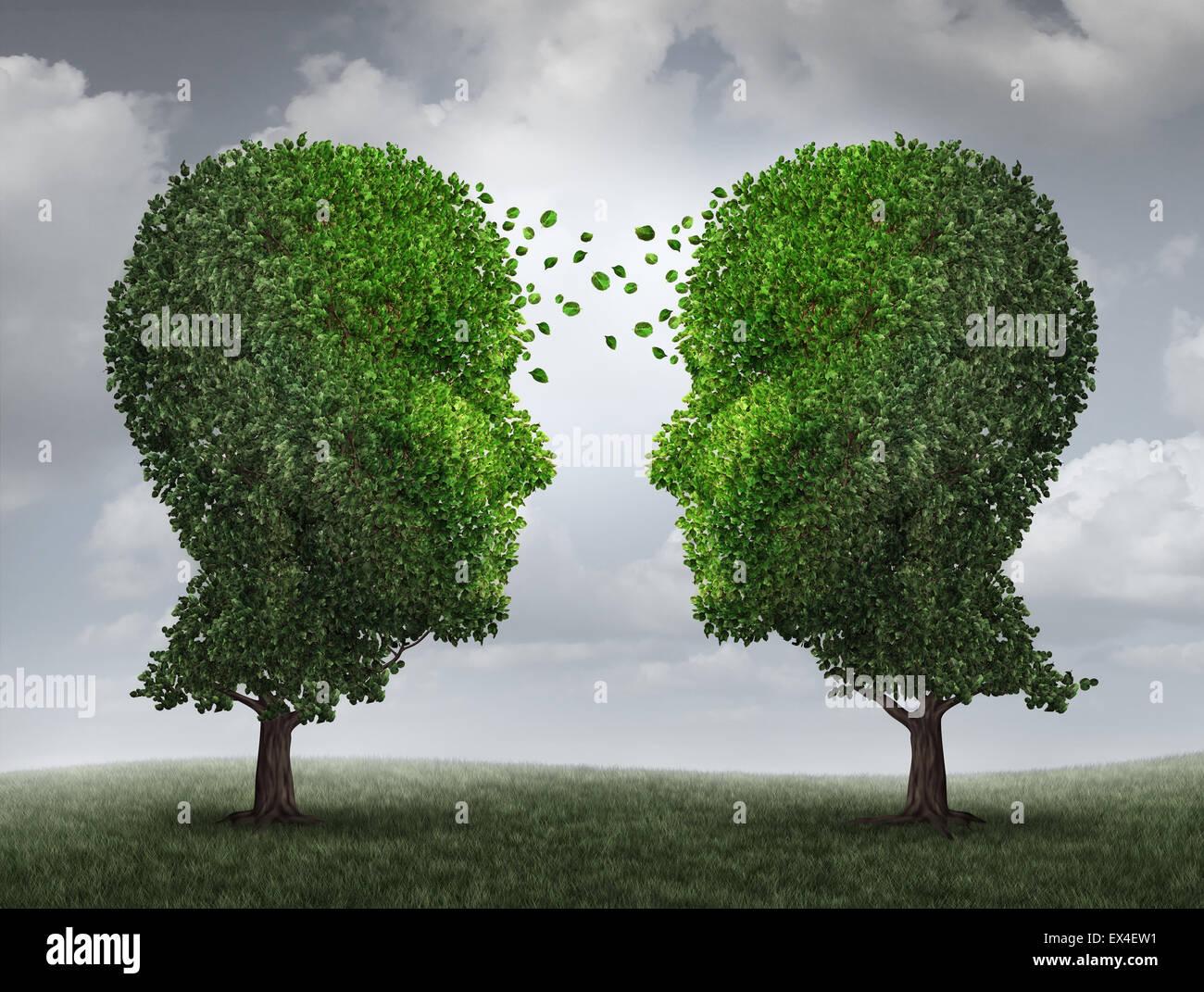 Kommunikation und Wachstum Konzept als eine wachsende Partnerschaft und Teamwork Austausch im Geschäft mit Stockbild