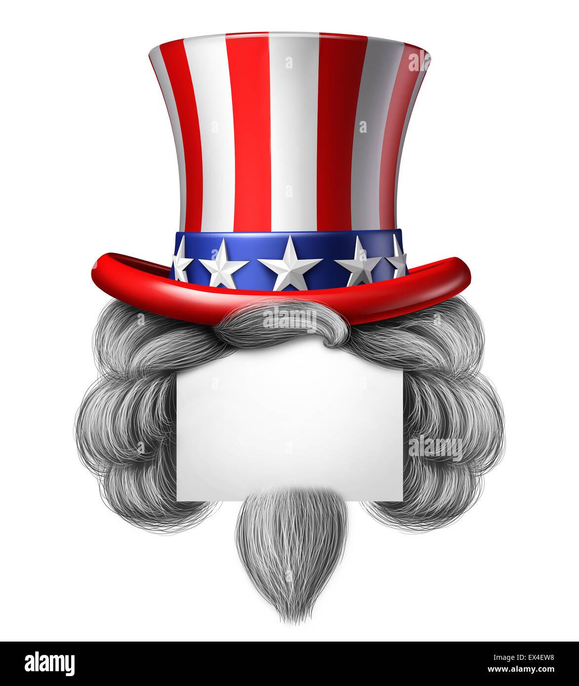 Amerikanischen Hut Schild mit textfreiraum als Sternen und Streifen mit Haar-Symbol auf einem weißen Hintergrund Stockbild