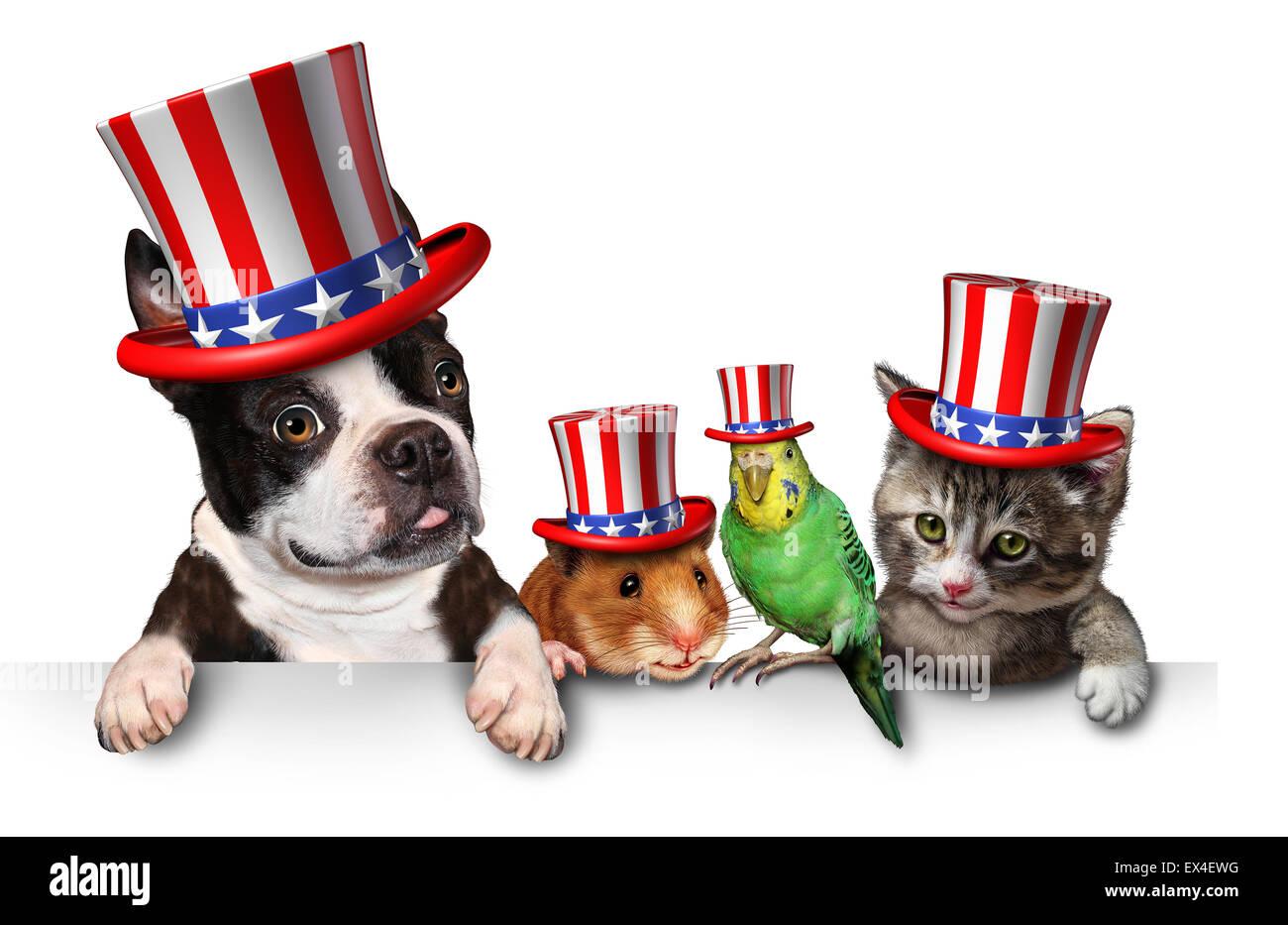 Independence Day Haustiere feiert den Vereinigten Staaten vierten Juli Urlaub mit Hund Katze Vogel und Hamster mit Stockbild