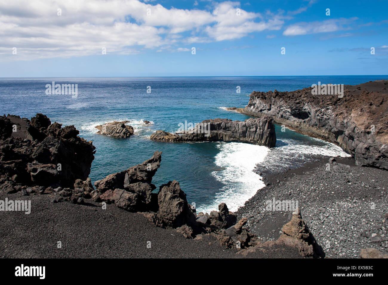 ESP, Spanien, die Kanaren Insel La Palma, erstarrte Lava des Vulkans San Antonio an der Küste in der Nähe Stockbild