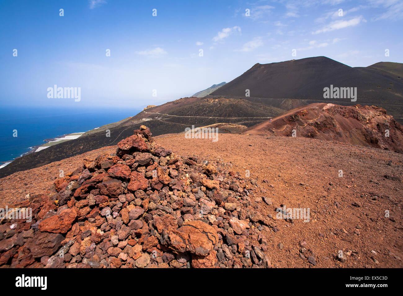 ESP, Spanien, die Kanaren Insel La Palma, Blick vom Vulkan Teneguia, der Vulkan San Antonio in der Nähe von Stockbild