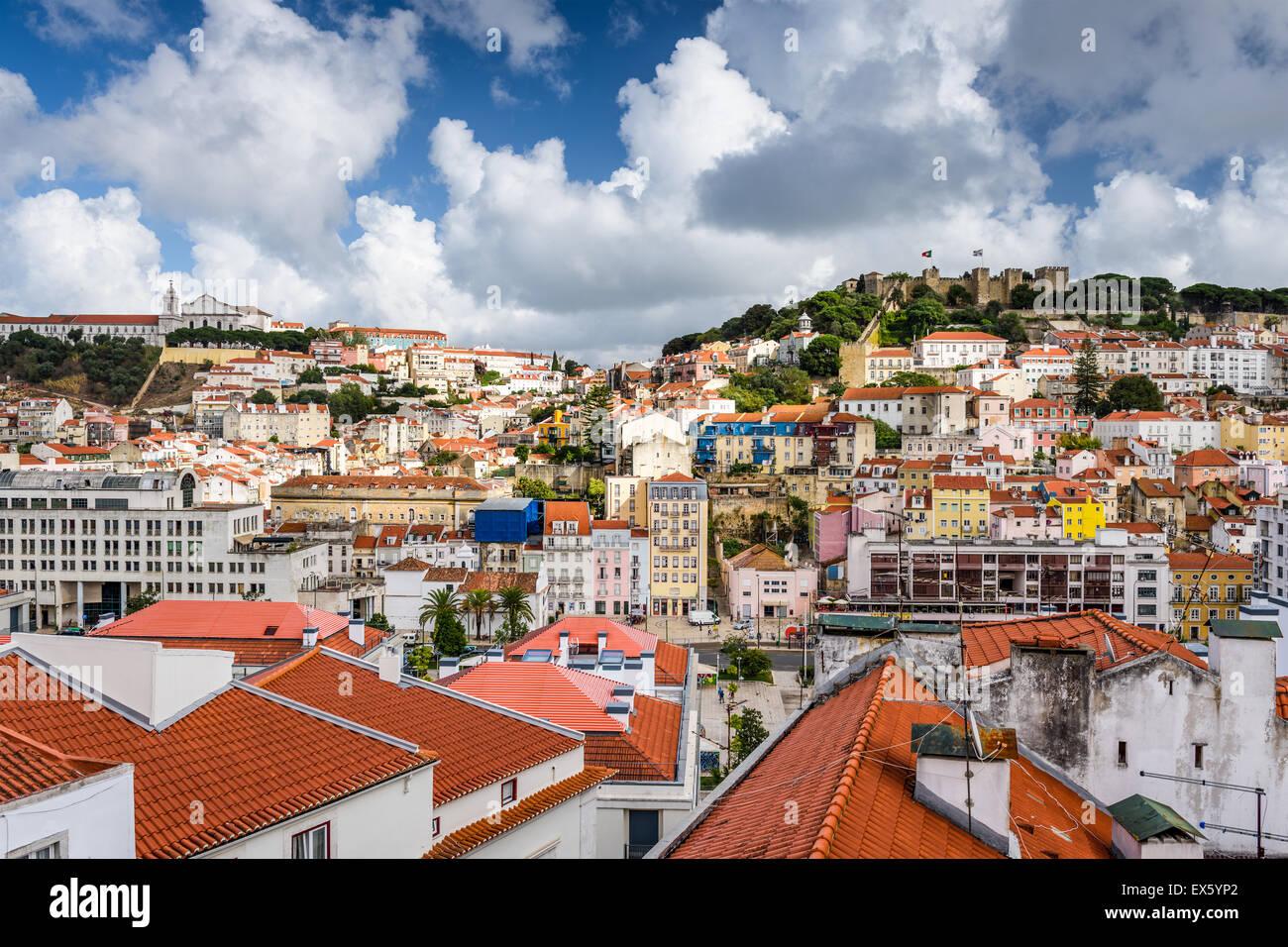 Lissabon, Portugal alte Stadt Skyline. Stockbild