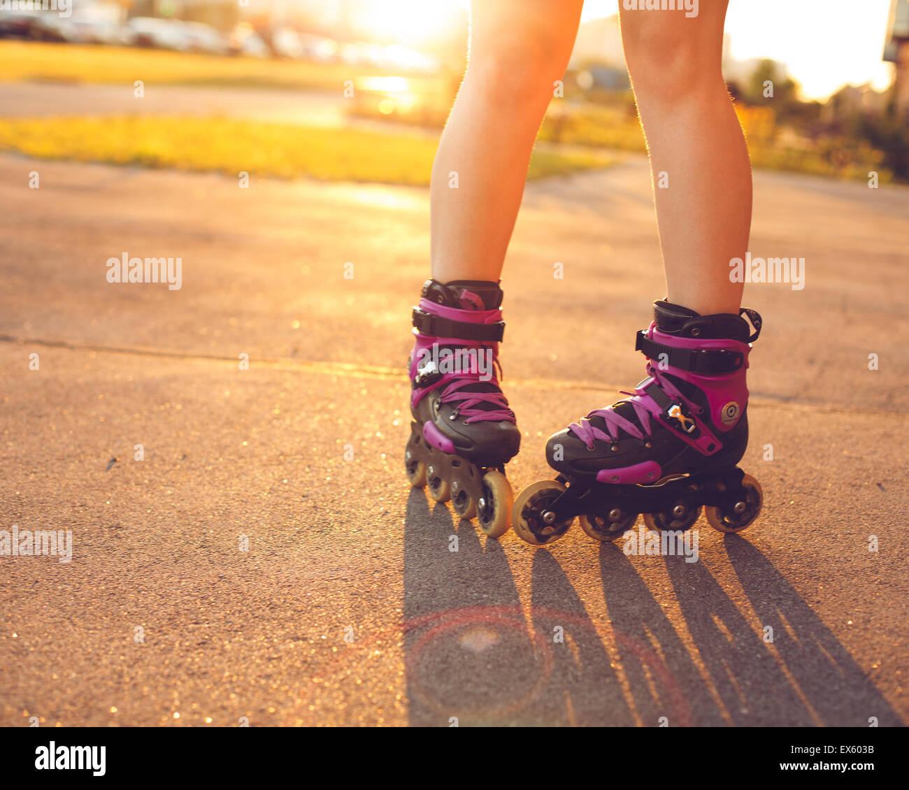 Roller Skateschuhe hautnah Stockbild