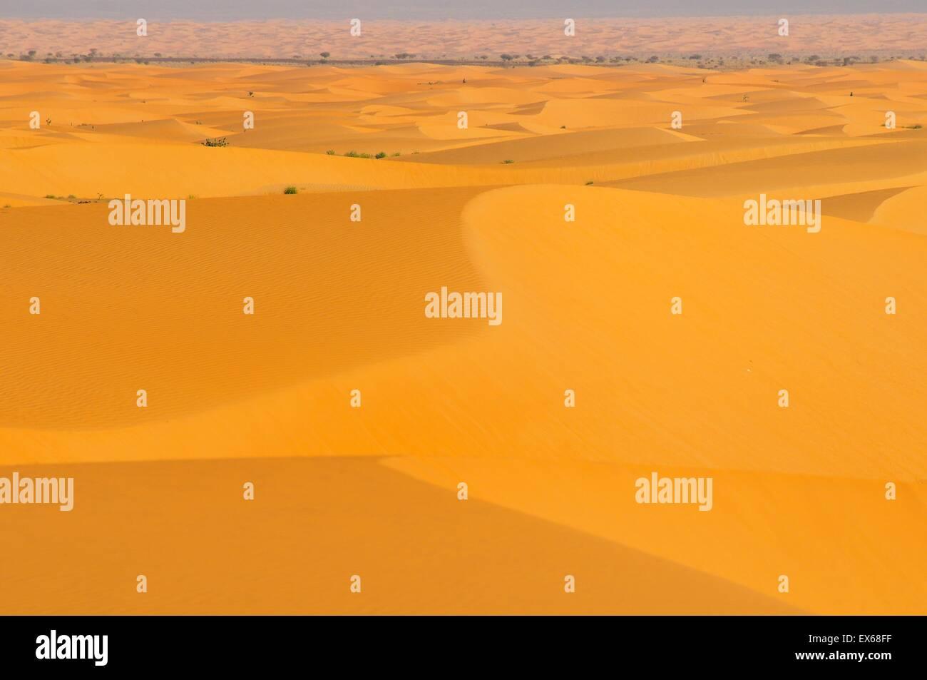 Wüstenlandschaft mit Sanddünen, Strecke von Atar nach dort, Region Adrar, Mauretanien Stockbild
