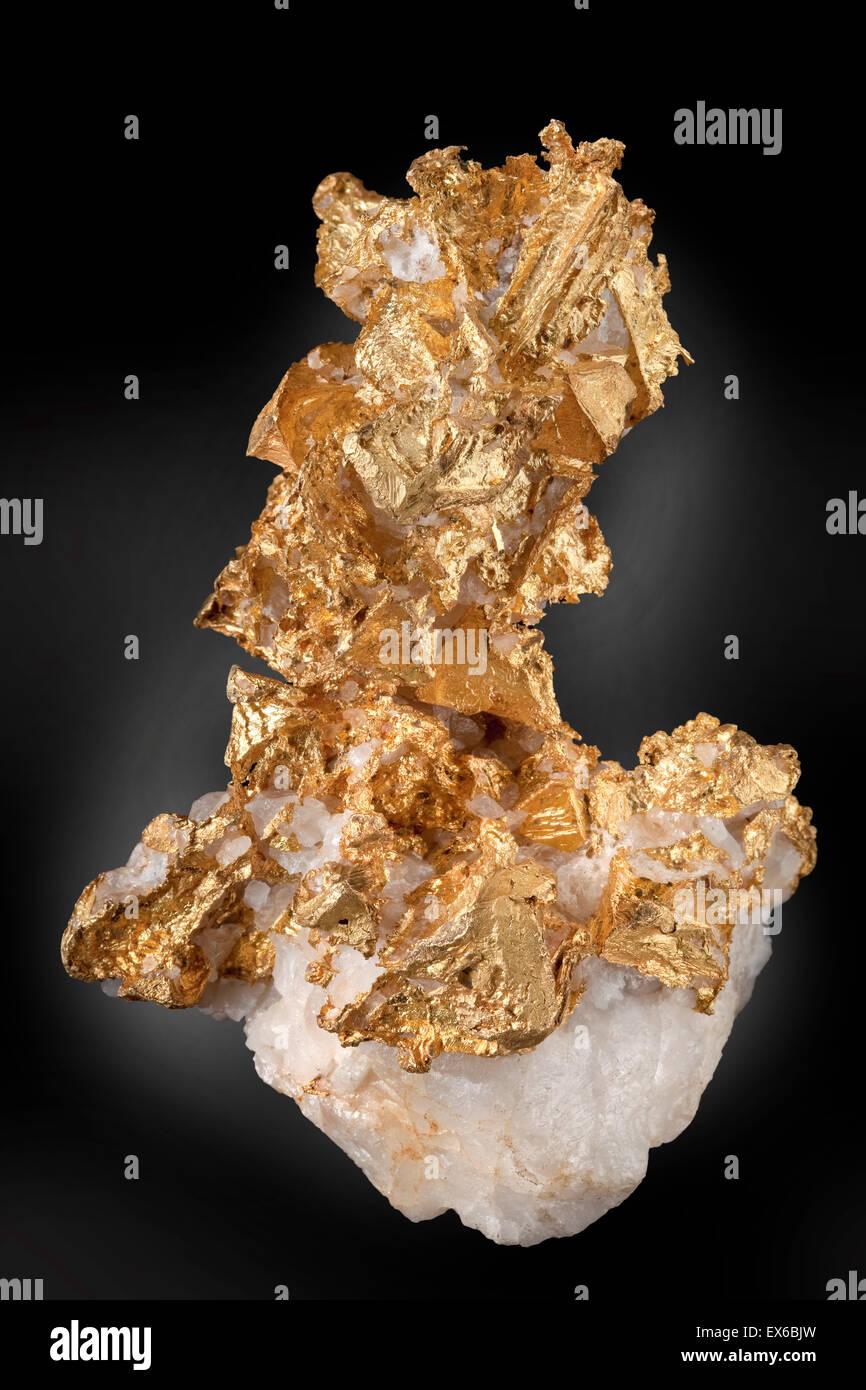 Gediegenes Gold auf Quarz Stockbild