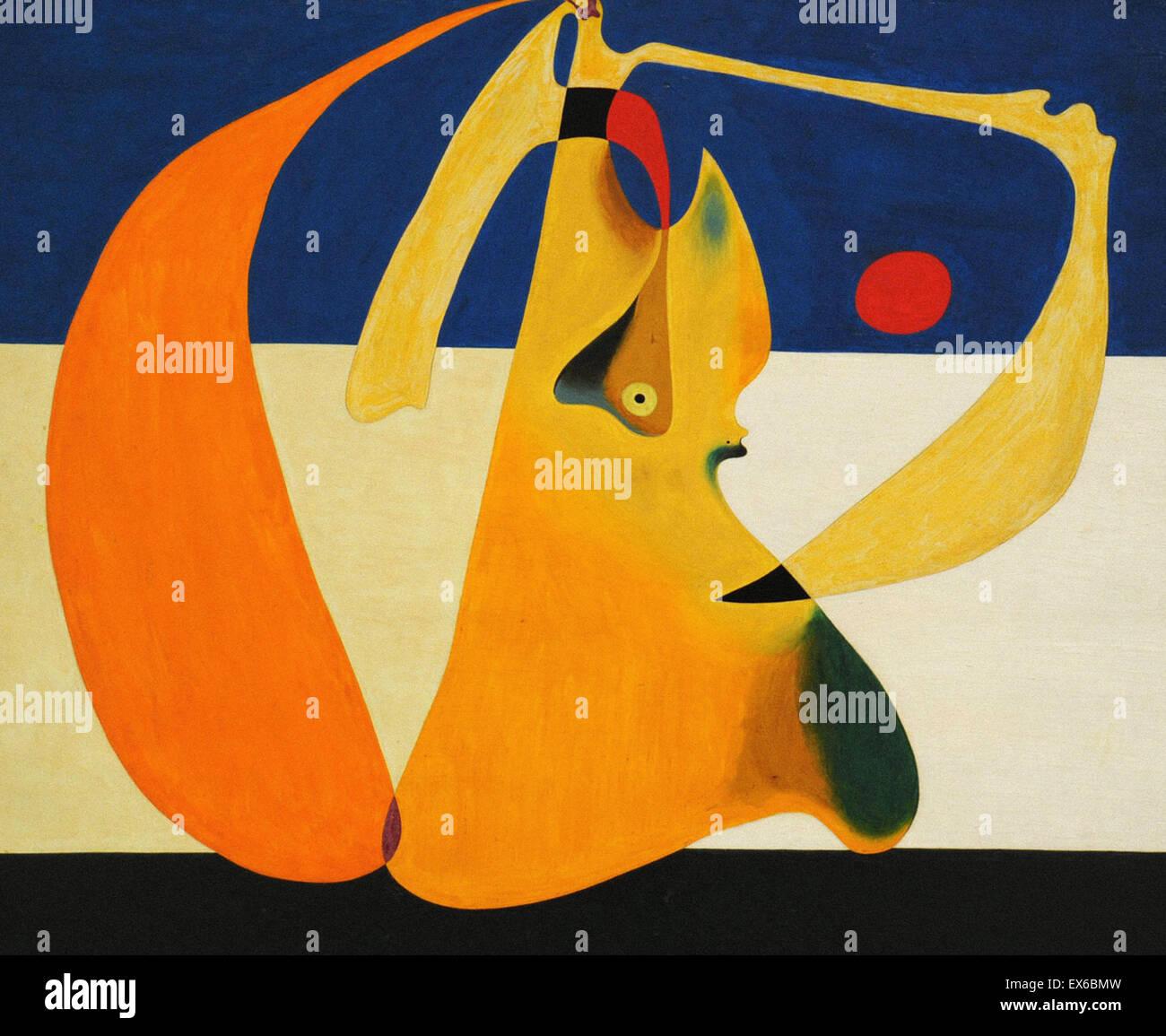 Joan Miró Badende Stockbild
