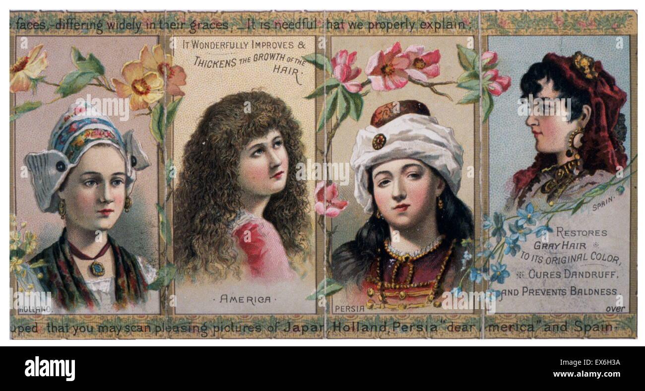 """Patent-Medizin-Label für namenlose Frauen Haarwasser, """"stellt grauen Haare... heilt Schuppen und Haarausfall Stockbild"""