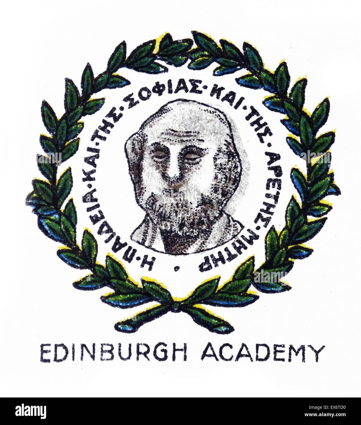 Emblem für Midlothian, Schottland, Edinburgh Academy, eine Privatschule, die von Henry Cockburn, Lord Cockburn Stockbild