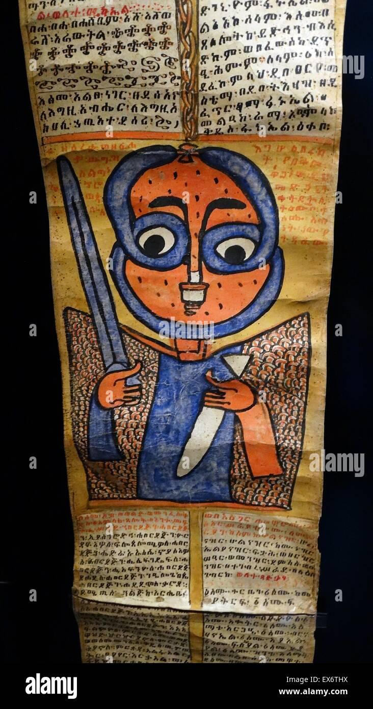 Schutzengel. Der Engel hält eine Waffe - ein Schwert - das hilft, um den Kampf gegen Satan und die Dämonen Stockbild