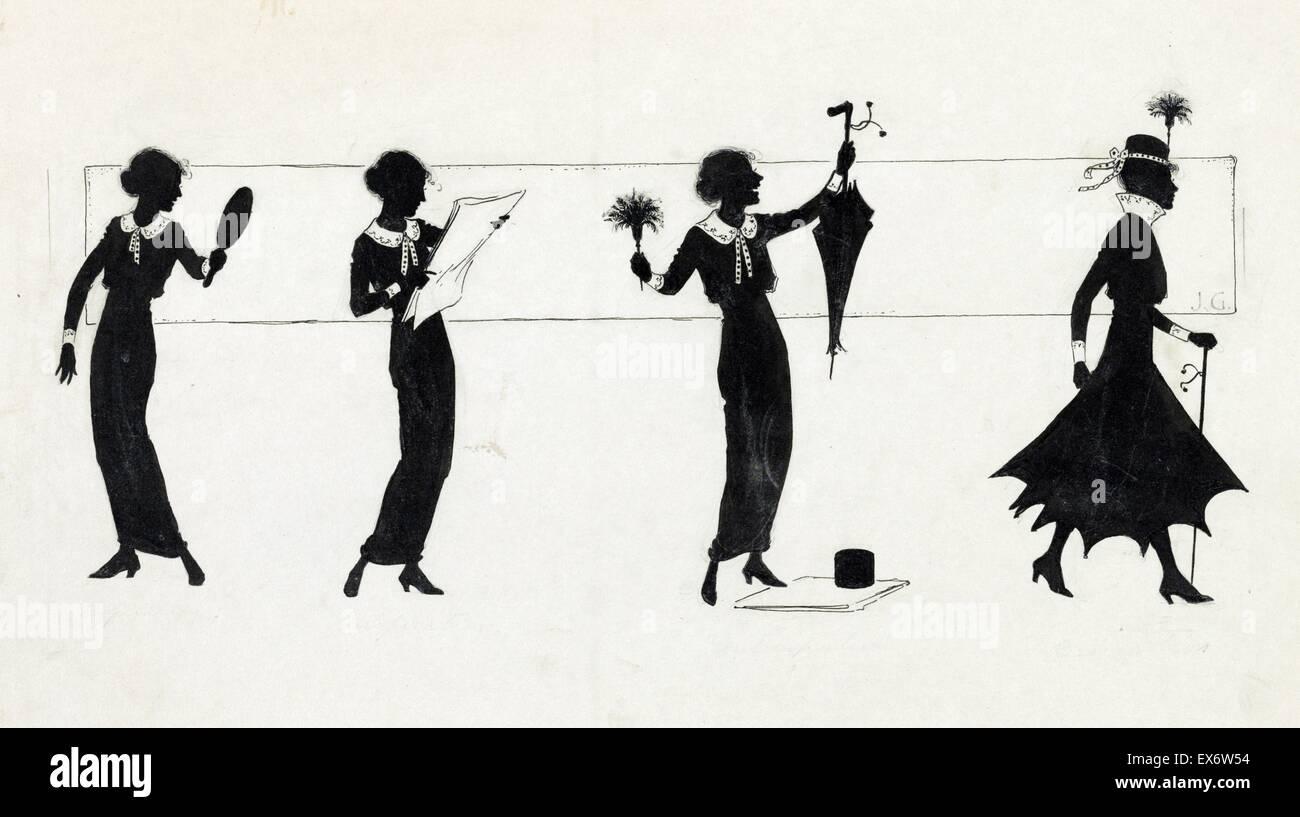 Zeichnen Auf Die Silhouette Der Frau Verwandeln Einfache Kleidung Zu