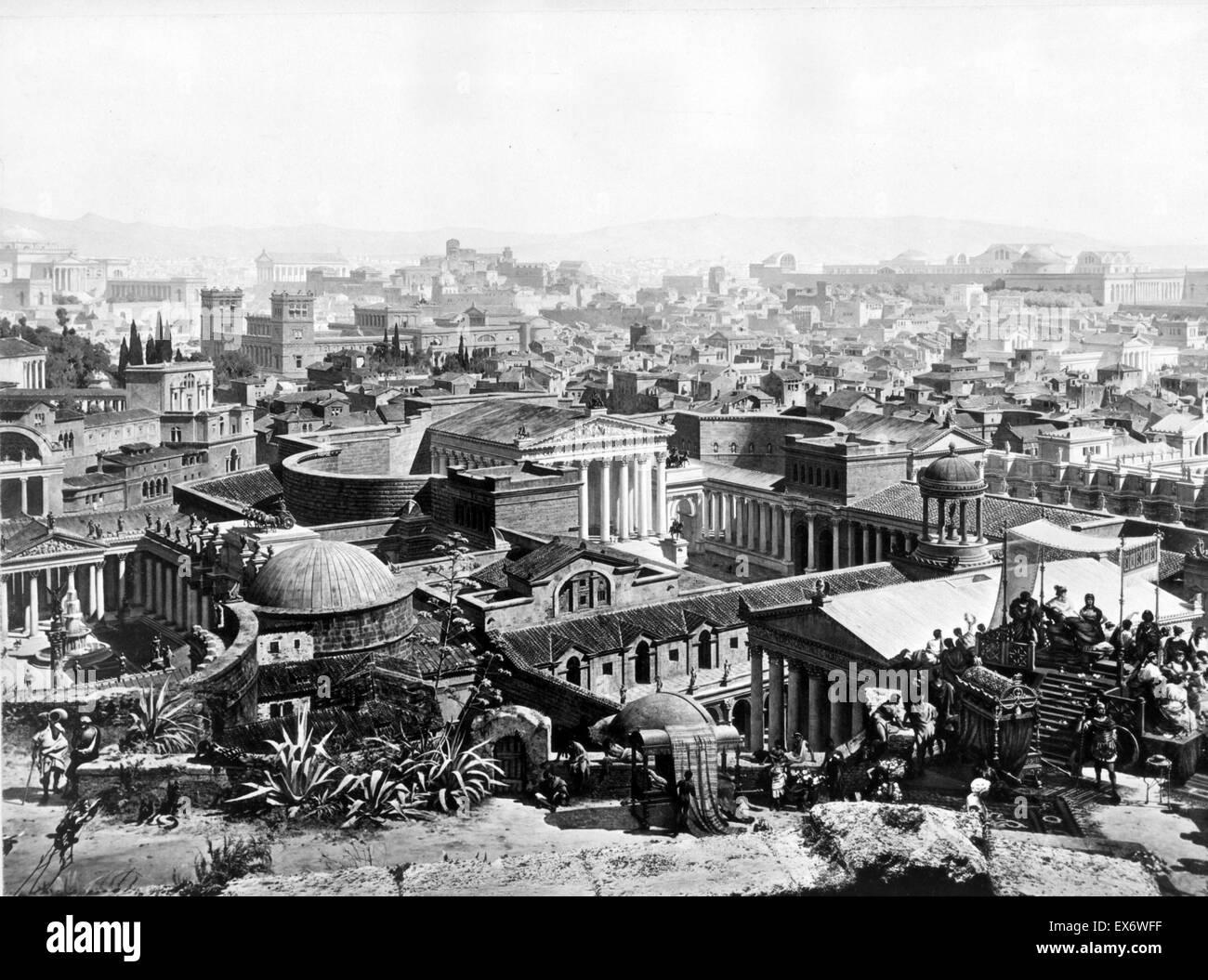 Panoramabild des antiken Roms mit dem Siegeszug von Kaiser Constantine. Von Josef Bühlmann (1844-1921). Datiert Stockbild