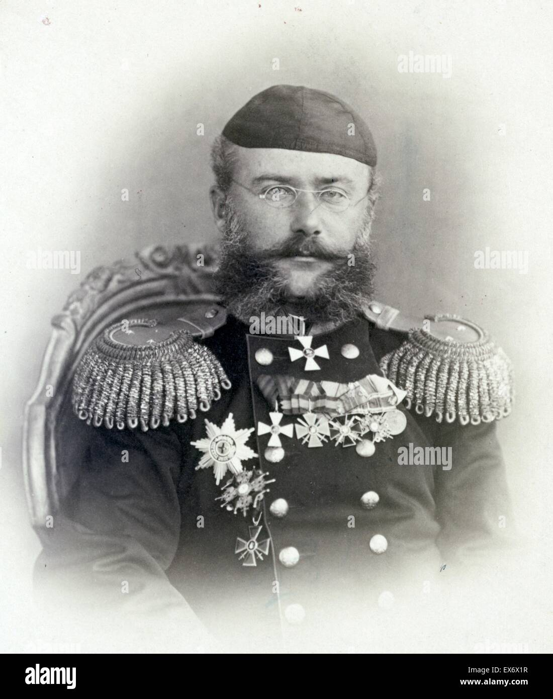 Porträt des russischen Generals Alexander Konstantinowitsch Abramov (1836-1886). Er diente unter General Mikhail Stockfoto