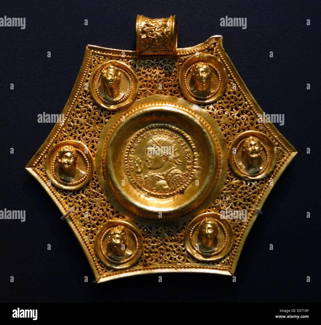 Gold Münze Anhänger Ad 320s Späte Römische Befindet Sich Der Gold