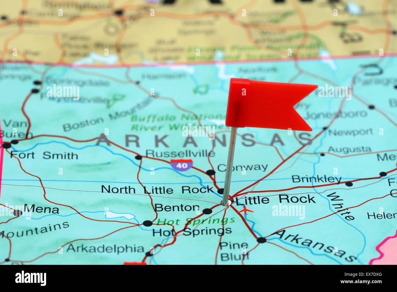 Little Rock Pinned On Map Stockfotos & Little Rock Pinned On ...