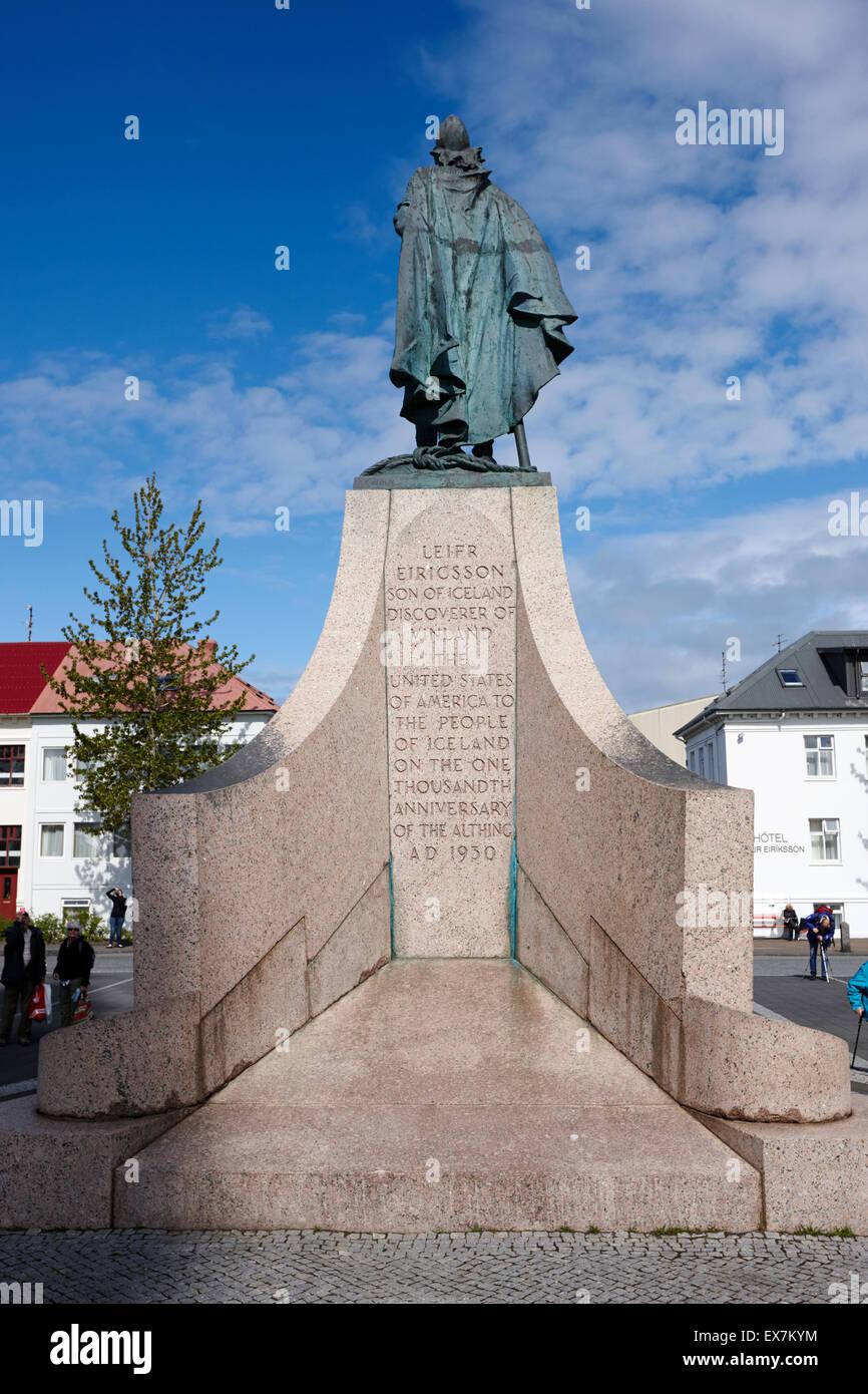 Statue von Explorer lief Eriksson Reykjavik Island Stockbild