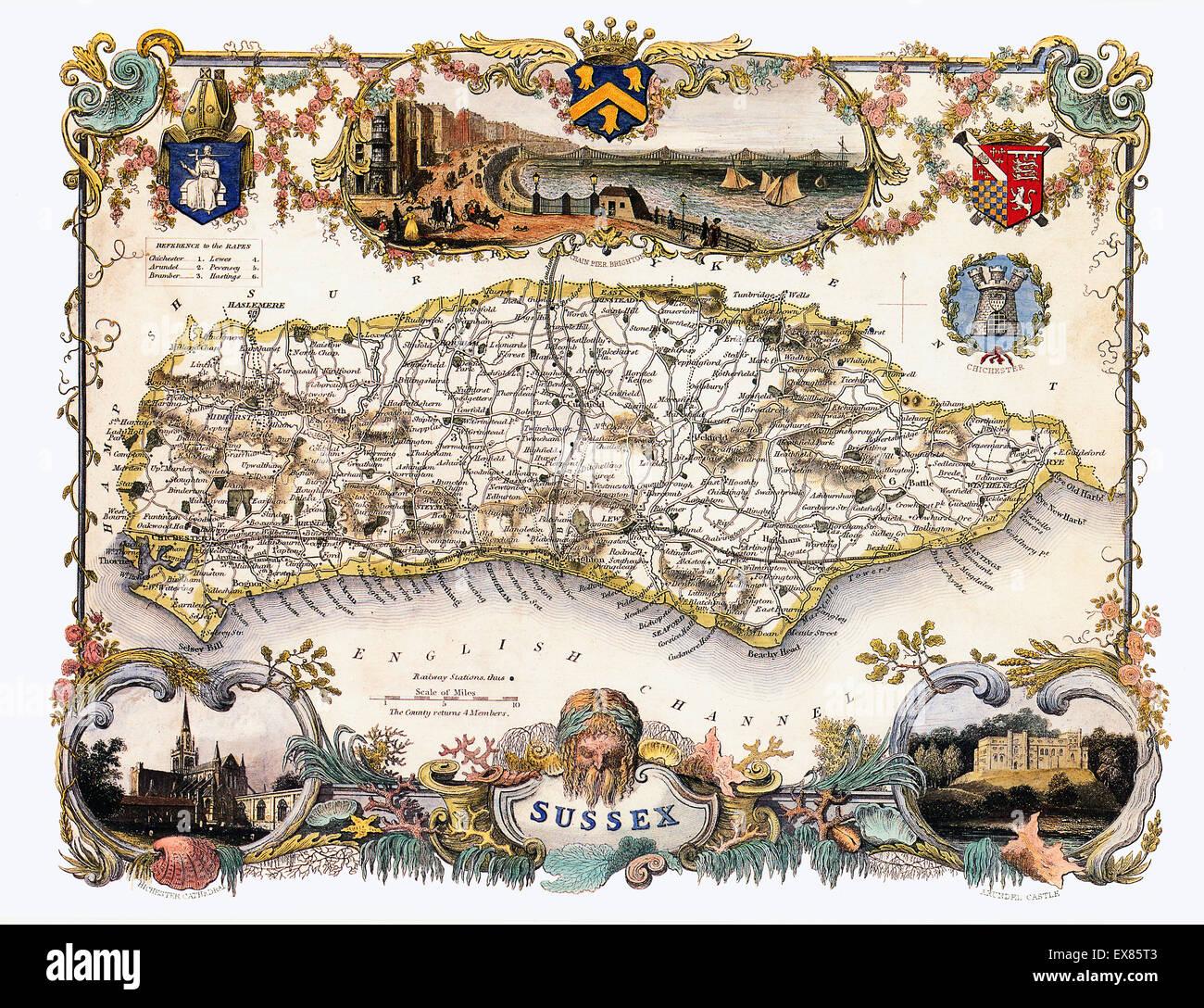 Sussex Karte, 1850 von Thomas Moule der englischen Grafschaft, mit Illustrationen von Brighton Pier, Chichester Stockbild