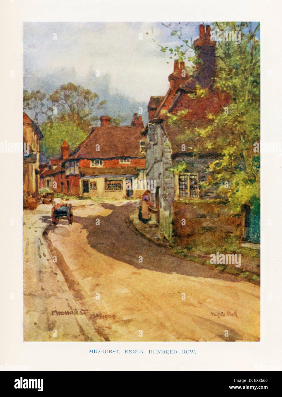Midhurst, Sussex, 1904 Aquarell klopfen hundert Zeile in einem Edwardian Ländliches Motiv Stockbild