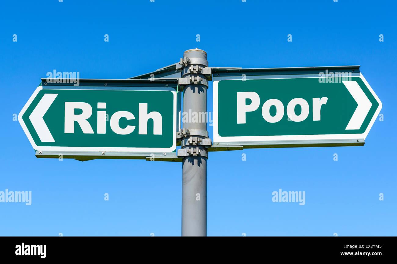 Richtung, entweder reich oder Arm zu zeigen. Stockbild