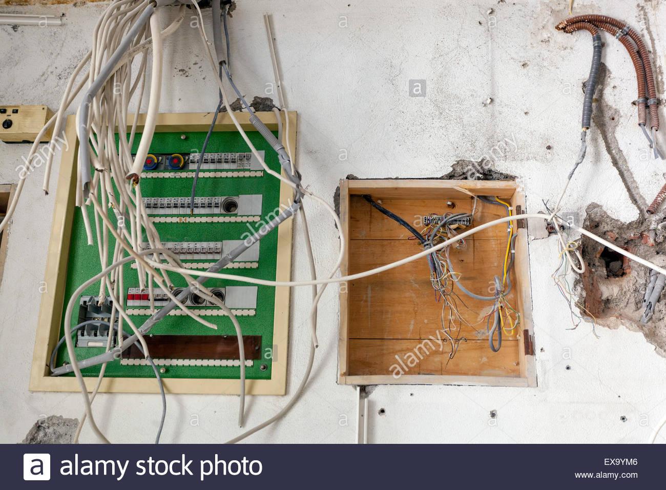 Hausinstallation Elektrische Leitungen Kabel Stockfoto Bild