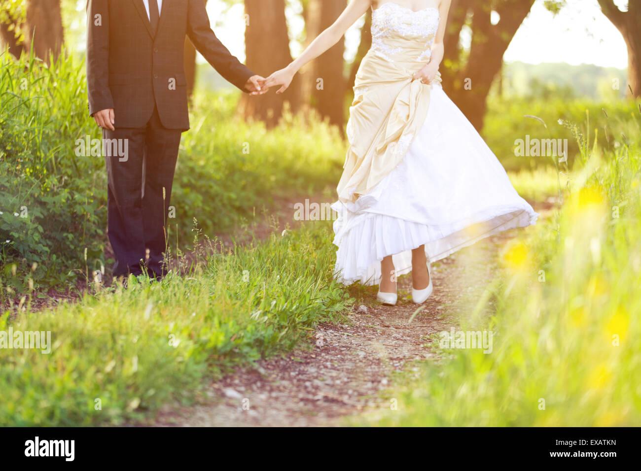 Braut und Bräutigam, Spaziergang in der Natur Stockbild