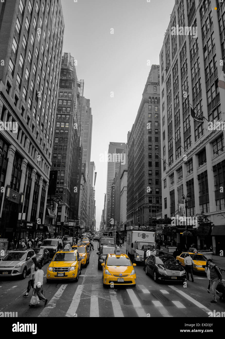 New York Taxi Black And White Stockfotos New York Taxi Black And