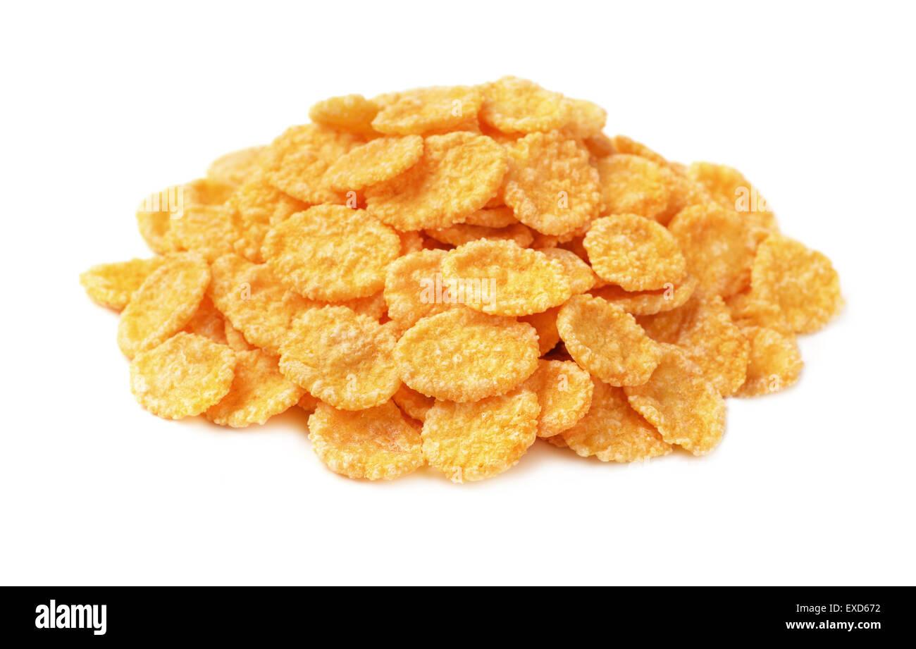Haufen von Cornflakes isoliert auf weiss Stockbild