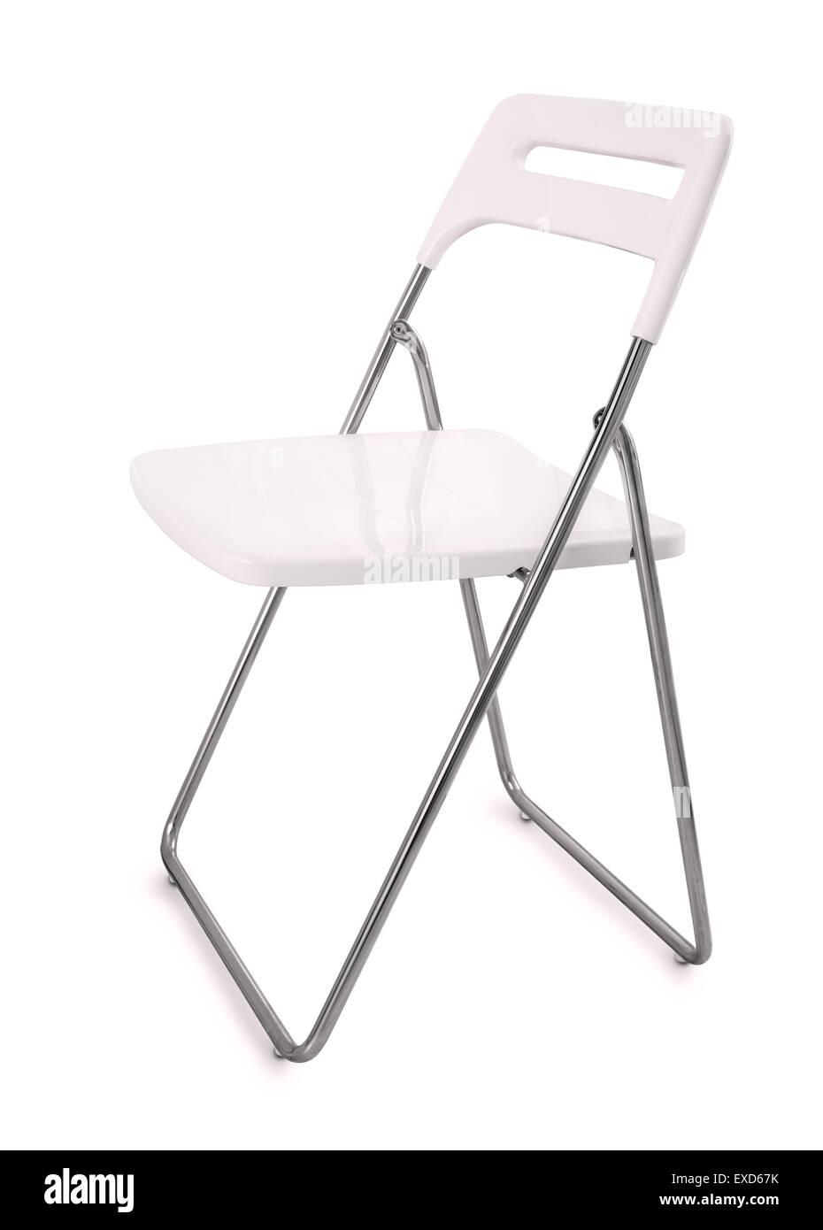 Weissem Kunststoff Klappstuhl Isoliert Auf Weiss Stockfoto Bild
