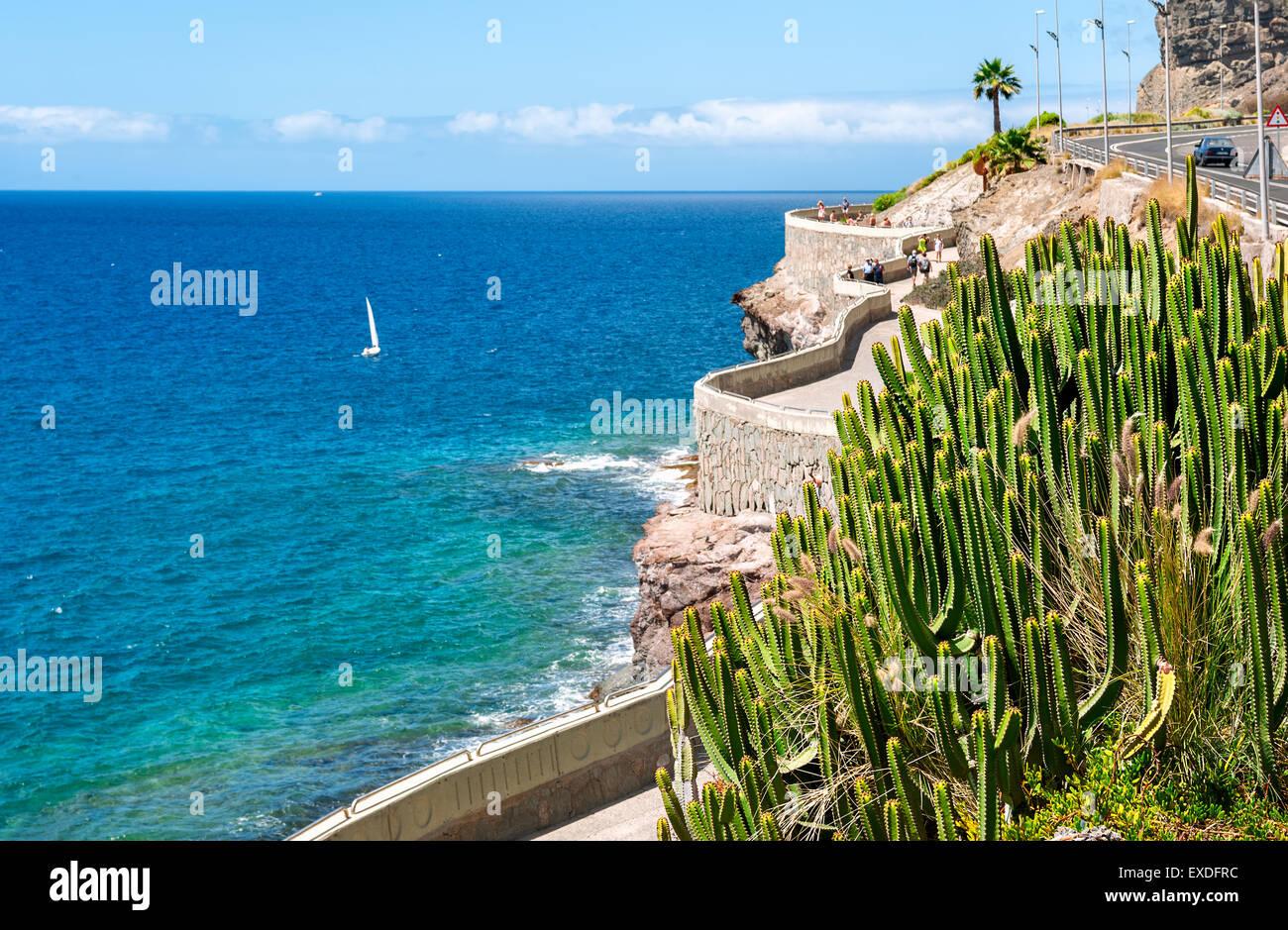 Küste von Puerto Rico, Amadores Strand. Gran Canaria, Kanarische Inseln, Spanien Stockbild