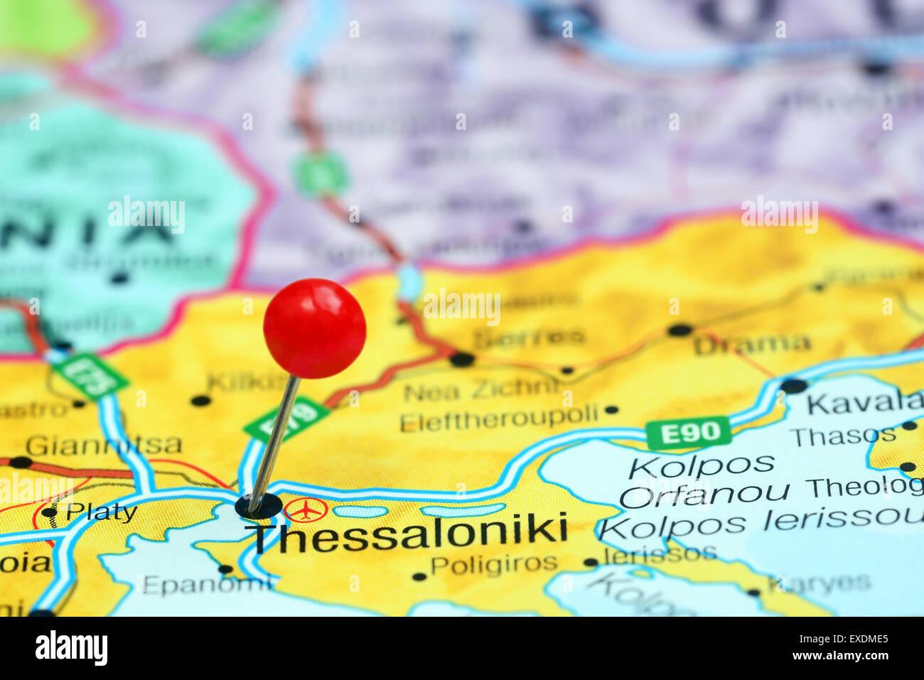 Thessaloniki Karte.Thessaloniki Fixiert Auf Einer Karte Von Europa Stockfoto Bild