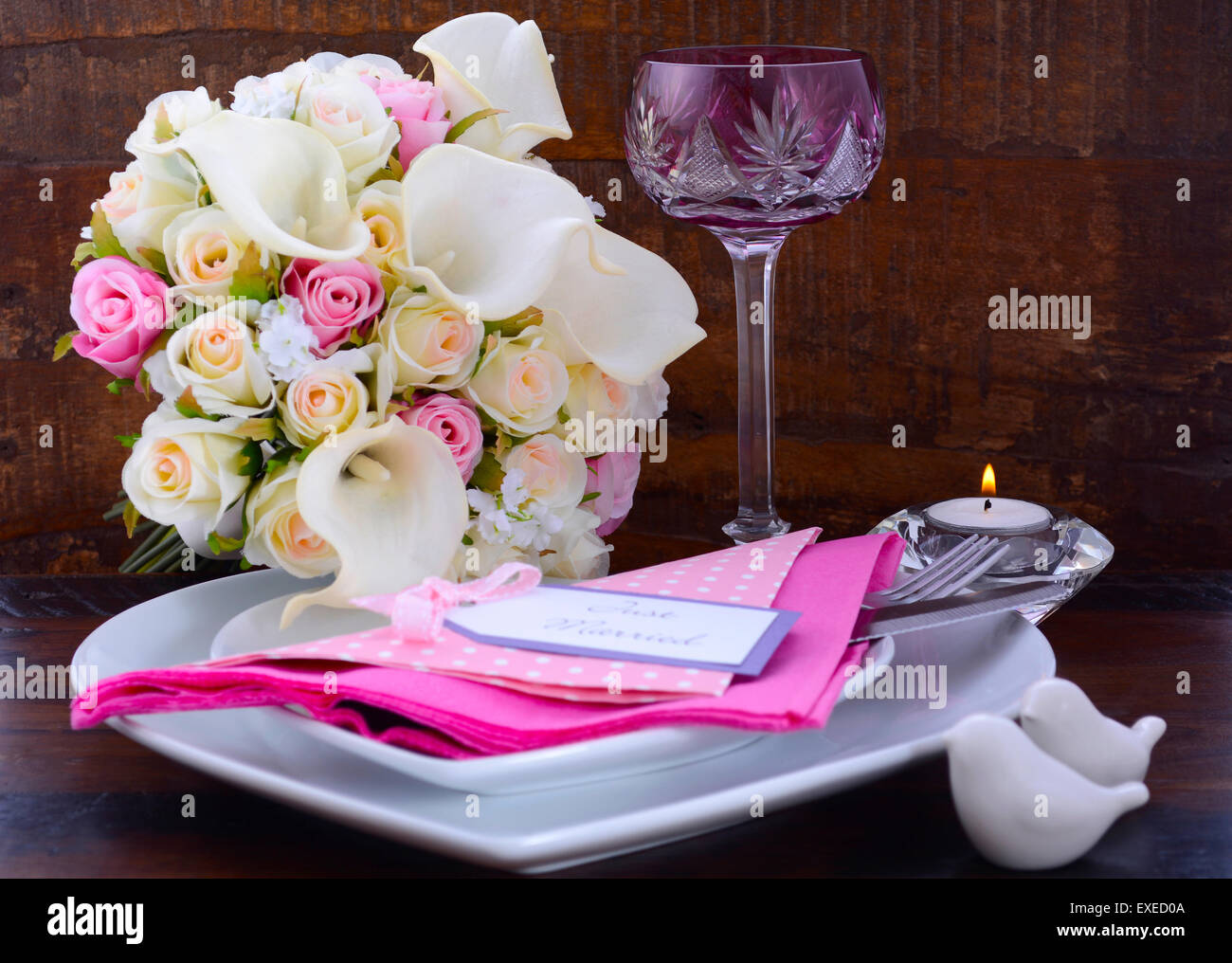 Rosa Thema Hochzeit Ort Tischdekoration Mit Weissen Herzen Form